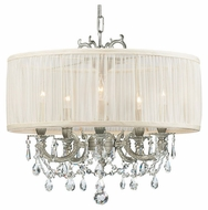 Crystorama 5535PWSAW Brentwood 5-Lamp Chandelier/Semi-Flush Ceiling Light in Pewter with Antique White Shade