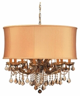 Crystorama 4489ABSHG Brentwood 12-Lamp Chandelier in Antique Brass with Harvest Gold Shade