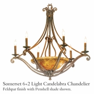 Kalco 4969 Somerset Tortoise Shell 6 + 2 Light Candelabra Chandelier