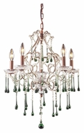 ELK 4012/5LM Opulence Medium 5 Candle 20 Inch Diameter Lime Crystal Chandelier - Rust