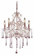 ELK 4012/5RS Opulence Rust Finish 20 Inch Diameter Medium 5 Candle Rose Crystal Chandelier Light