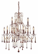 ELK 4013/6+3AMB Opulence Amber Crystal Large 2 Tier Rust Candle Chandelier