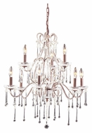 ELK 4013/6+3CL Opulence 2 Tier 9 Candle Rust Finish Large Chandelier With Clear Crystals