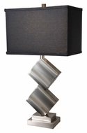 Lite Source LS21929PSBLK Dewayne Black Linen Shade Polished Steel Modern Table Lamp - 27 Inches Tall