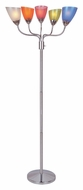 Lite Source LS82116MULTI Uni II 5 Light 69 Inch Tall Multicolored Polystyrene Shade Torchiere Floor Lamp - Chrome
