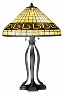 Meyda Tiffany 29504 Greek Key Tiffany Art Glass 30 Inch Tall Mahogany Bronze Table Light