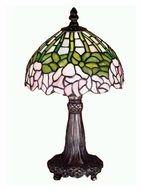 Meyda Tiffany 30312 Cabbage Rose Mahogany Bronze 13 Inch Tall Mini Table Lamp - Tiffany