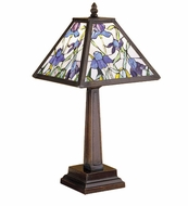 Meyda Tiffany 30886 Mosaic Iris Mahogany Bronze Stained Glass 19 Inch Tall Accent Table Light