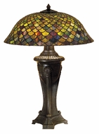 Meyda Tiffany 31115 Fishscale Mahogany Bronze 30 Inch Tall Tiffany Table Lamp
