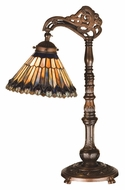 Meyda Tiffany 32738 Jeweled Peacock Bridge Arm 19 Inch Tall Tiffany Table Lamp