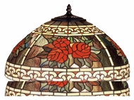 Meyda Tiffany 37788 Roses & Scrolls 25 Inch Tall Mahogany Bronze Tiffany Art Glass Shade Table Lamp