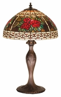 Meyda Tiffany 37789 Roses & Scrolls Mahogany Bronze Finish 22 Inch Tall Dome Tiffany Glass Table Lighting