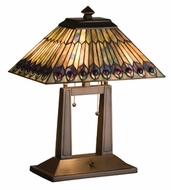 Meyda Tiffany 26300 Jeweled Peacock 20 Inch Tall Tiffany Lighting Table Lamp