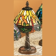 Meyda Tiffany 26614 Hanginghead Dragonfly 12 Inch Tall Tiffany Glass Mini Table Lamp - Orange & Red