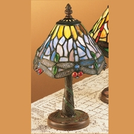 Meyda Tiffany 26616 Hanginghead Dragonfly Tiffany Art Glass Mini 12 Inch Tall Table Lighting - Blue & Purple