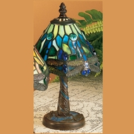 Meyda Tiffany 26617 Hanginghead Dragonfly 12 Inch Tall Tiffany Art Glass Mini Table Lamp Lighting - Blue & Green