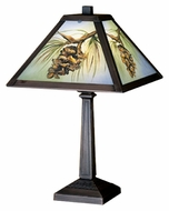Meyda Tiffany 27498 Northwoods 16 Inch Tall Tiffany Art Glass Pinecone Table Light Lamp