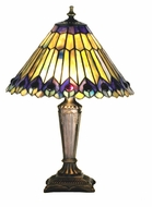 Meyda Tiffany 27564 Jeweled Peacock 17 Inch Tall Tiffany Art Glass 12 Inch Diameter Accent Lamp