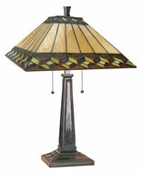 Lite Source LS21767 Inglenook II Antique Bronze Finish 24 Inch Tall Tiffany Table Lamp Lighting