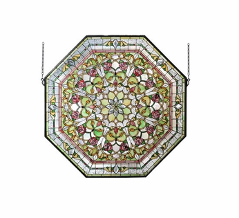 Meyda Tiffany 107225 Front Hall Floral Octagonal 35 Inch Tall Stained Glass Window