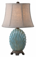 Uttermost 29321 Seashell Crackled Blue Glaze 22 Inch Tall Coastal Style Bed Lamp