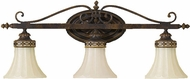 Feiss VS12503WAL Drawing Room 3 Light Amber and Walnut Vanity Wall Lighting Fixture