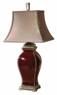 Uttermost 26684 Rory 33 Inch Tall Bronze Detailed Transitional Burgundy Ceramic Lamp