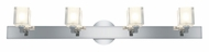 Access 23918-CH Glas�e 33 Inch Wide 4 Lamp Square Chrome Vanity Lighting For Bathroom