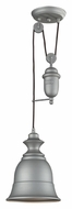 ELK 65080-1 Farmhouse Aged Pewter 8 Inch Diameter Pulley Mini Pendant Light Fixture