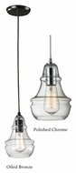 ELK Menlow Park 9 Inch Tall Ribbed Glass Mini Lighting Pendant With Finish Options
