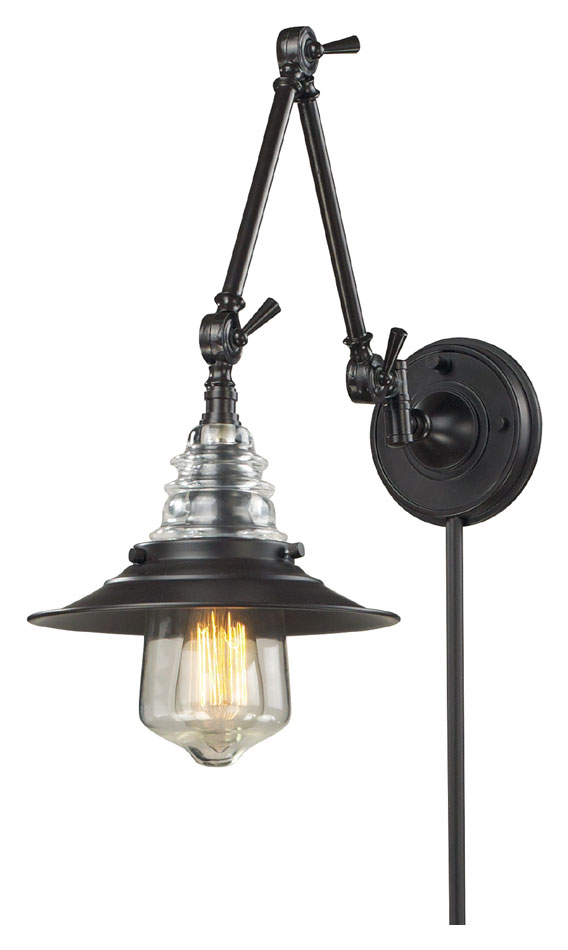 ELK 66816 1 Insulator Glass Vintage Swing Arm Wall Lamp   Oiled Bronze.  Loading Zoom
