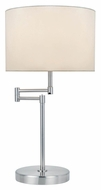 Lite Source LS-22215PS/WHT Durango Transitional Polished Steel Swing Arm Table Lamp