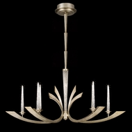 Fine Art 812640-2 Crescents 6 Candle Warm Silver Leaf Finish Modern Chandelier Lamp