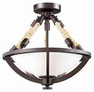 ELK 63011-2 Natural Rope 14 Inch Diameter Rustic Semi Flush Mount Lighting