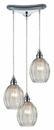 ELK 46017/3 Danica Polished Chrome 10 Inch Diameter 3 Lamp Multi Pendant Lamp