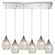 ELK 46017/6rc Danica Rectangle Canopy 6 Lamp Polished Chrome Multi Pendant