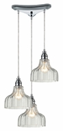 ELK 46018/3 Danica 10 Inch Diameter Polished Chrome Multi Drop Ceiling Lighting