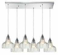 ELK 46018/6rc Danica Polished Chrome Rectangle Canopy Multi Pendant - 6 Lamps