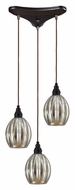 ELK 46007/3 Danica 3 Lamp Oiled Bronze Multi Pendant Hanging Lamp