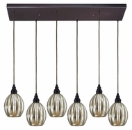 ELK 46007/6rc Danica Oiled Bronze 6 Lamp Multi Pendant With Rectangle Canopy