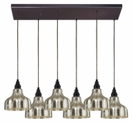 ELK 46008/6rc Danica Oiled Bronze Rectangle Canopy Multi Pendant Lamp