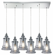 ELK Menlow Park Transitional 30 Inch Wide Rectangle Canopy Multi Pendant - 6 Lamps