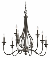 Kichler 43331OZ Kensington Large 33 Inch Diameter 9 Candle Chandelier - Olde Bronze