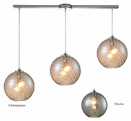ELK 31380/3L Watersphere Contemporary Linear 3 Lamp Polished Chrome Multi Pendant