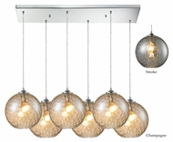 ELK 31380/6rc Watersphere Polished Chrome Rectangle Canopy Multi Pendant - 6 Lamps