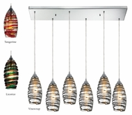 ELK 31338/6rc Twister Contemporary 6 Lamp Multi Ceiling Pendant Light - Blown Glass