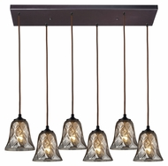 ELK 46000/6rc Darien Rectangle Canopy 6 Light Multi Pendant Lamp - 30 Inches Wide