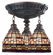 ELK 997-AW-10 Mix-N-Match 3 Lamp Aged Walnut Finish Tiffany Ceiling Lighting Fixture