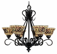 ELK 366-VA Tiffany Buckingham 6 Lamp Vintage Antique 28 Inch Diameter Chandelier Light