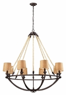 ELK 63017-8 Natural Rope 42 Inch Diameter Aged Bronze Fabric Shade Large Chandelier